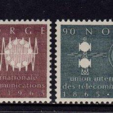 Sellos: NORUEGA 480/81** - AÑO 1965 - CENTENARIO DE UNION INTERNACIONAL DE TELECOMUNICACIONES. Lote 158701682