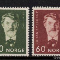 Sellos: NORUEGA 499/500** - AÑO 1966 - 150º ANIVERSARIO DEL NACIMIENTO DE JOHAN SVERDRUP. Lote 170287080