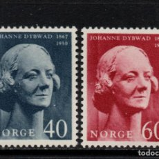 Sellos: NORUEGA 511/12** - AÑO 1967 - CENTENARIO DEL NACIMIENTO DE LA ACTRIZ JOHANNE DYBWAD. Lote 170287532