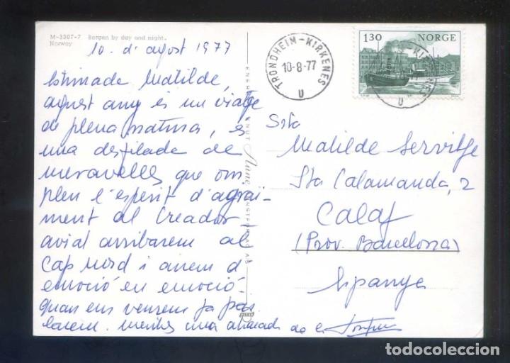 NORUEGA. BERGEN. CIRCULADA TRONDHEIM-KIRKENES A CALAF EN 1977. (Sellos - Extranjero - Europa - Noruega)