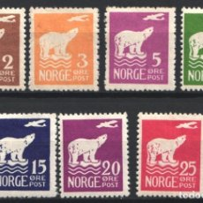 Sellos: NORUEGA, 1925 YVERT Nº 101 / 107 /*/, FAUNA, OSO POLAR. . Lote 179116073