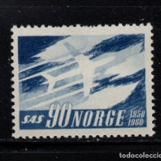 Sellos: NORUEGA 408** - AÑO 1961 - AVIONES - 10º ANIVERSARIO DE SCANDINAVIAN AIRLINES . Lote 180011482