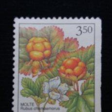 Sellos: NORUEGA, 3,50, RUBUS CHAMAEMORUS, AÑO 1996, SIN USAR. Lote 182034767