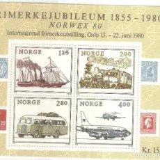 Sellos: NORUEGA, HOJITA CAT. YT BF 4, 1980,NUEVA, G.ORIGINAL,SIN FIJASELLOS.. Lote 186733160
