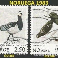 Sellos: NORUEGA 1983 - NO 883 Y 884 - 2 SELLOS USADOS - TEMA AVES. Lote 194089528