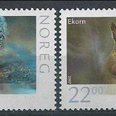 Sellos: NORUEGA 2007 - FAUNA - ERIZO Y LIEBRE - YVERT Nº 1545/1546 **. Lote 198355676