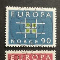 Sellos: NORUEGA, EUROPA CEPT 1963 COMPLETA Y USADA (FOTOGRAFÍA REAL). Lote 205572053