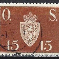 Sellos: NORUEGA 1951-52 - SELLO OFICIAL, LETRAS O.S. - ESCUDO DE ARMAS DE 15 ØRE - SELLO USADO. Lote 213690637