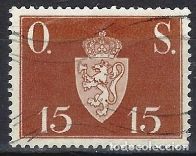 NORUEGA 1951-52 - SELLO OFICIAL, LETRAS O.S. - ESCUDO DE ARMAS DE 15 ØRE - SELLO USADO (Sellos - Extranjero - Europa - Noruega)