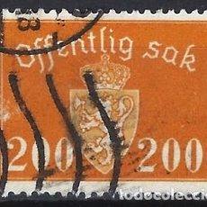Sellos: NORUEGA 1946-47 - SELLO OFICIAL - ESCUDO DE ARMAS, 200 ØRE - SELLO USADO. Lote 213697496