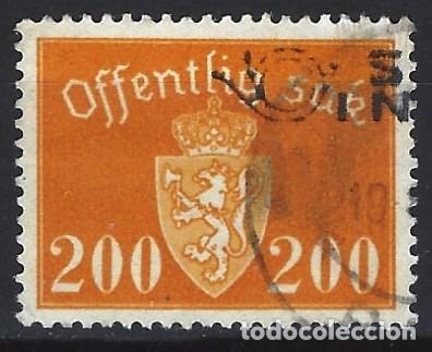 NORUEGA 1946-47 - SELLO OFICIAL - ESCUDO DE ARMAS, 200 ØRE - SELLO USADO (Sellos - Extranjero - Europa - Noruega)