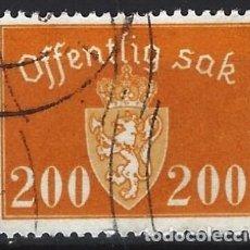 Sellos: NORUEGA 1946-47 - SELLO OFICIAL - ESCUDO DE ARMAS, 200 ØRE - SELLO USADO. Lote 213697525