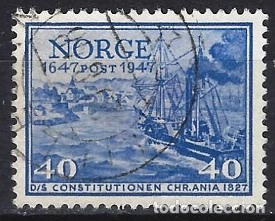 "NORUEGA 1947 - 3º CENTENARIO DEL CORREO NORUEGO, BARCO POSTAL ""CONSTITUTIONEN"" EN CRISTIANIA - USADO (Sellos - Extranjero - Europa - Noruega)"