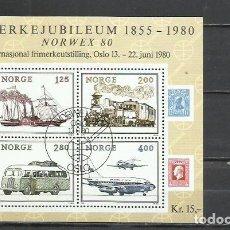 Sellos: J118-HOJA BLOQUE NORUEGA LUJO USADA 1980 Nº3.NORGE.NORWAY 8,50€ YVERT. TRANSPORTE TRENES,BARCOS AVIO. Lote 216833361