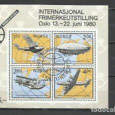 Sellos: J119-HOJA BLOQUE NORUEGA LUJO USADA 1980 Nº4.NORGE.NORWAY 7,50€ YVERT.AVIONES. Lote 216833373