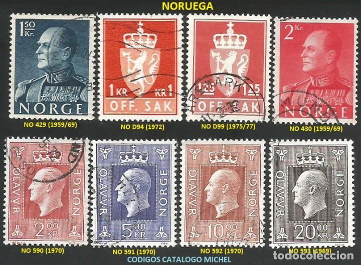 NORUEGA 1959 A 1977 - LOTE VARIADO (VER IMAGEN) - 8 SELLOS USADOS (Sellos - Extranjero - Europa - Noruega)