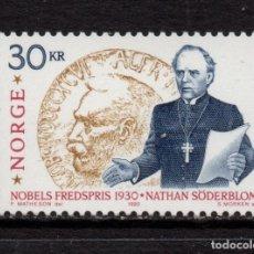 Sellos: NORUEGA 1015** - AÑO 1990 - NATHAN SODERBLON, PREMIO NOBEL DE LA PAZ 1930. Lote 226851360