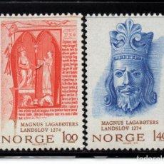 Timbres: NORUEGA 639/40** - AÑO 1974 - 7º CENTENARIO DEL CÓDIGO NACIONAL - REY MAGNUS LAGABOTER. Lote 227867175