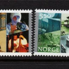 Sellos: NORUEGA 1379/80** - AÑO 2002 - ANIVERSARIOS DE LAS CIUDADES DE HOLMESTRAND Y KRONGBERG. Lote 227868870