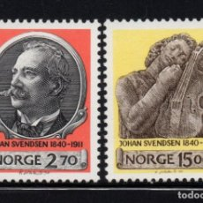 Sellos: NORUEGA 1007/08** - AÑO 1990 - MUSICA - 150º ANIVERSARIO DEL NACIMIENTO DEL MUSICO JOHAN SVENDSEN. Lote 228161590