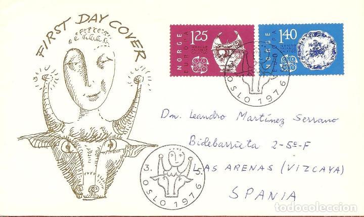 SPD -FDC NORUEGA, TEMA EUROPA , 1976, CIRCULADO (Sellos - Extranjero - Europa - Noruega)