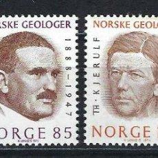 Sellos: NORUEGA 1974 IVERT 643/6 *** GEÓLOGOS NORUEGOS - PERSONAJES. Lote 236321810