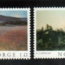 Sellos: NORUEGA 1977 IVERT 709/10 *** PINTURAS NORUEGAS CLÁSICAS (III). Lote 236323075