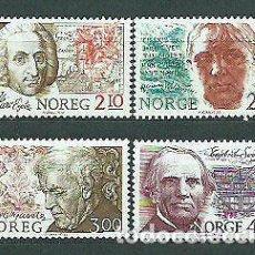 Sellos: NORUEGA 1986 IVERT 910/3 *** ANIVERSARIOS DEL NACIMIENTO DE NORUEGOS CÉLEBRES - PERSONAJES. Lote 236327335
