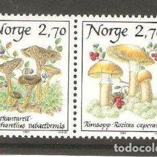 Sellos: NORUEGA 1987 IVERT 924/5 *** FLORA - SETAS - CHAMPIÑONES (I). Lote 236328985