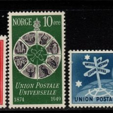 Sellos: NORUEGA 314/16** - AÑO 1949 - 75º ANIVERSARIO DE LA UNION POSTAL UNIVERSAL. Lote 236603620