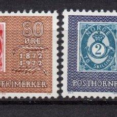 Sellos: NORUEGA 596/97** - AÑO 1972 - CENTENARIO DE LA PRIMERA SERIE DE SELLOS POSTHORN. Lote 236604005