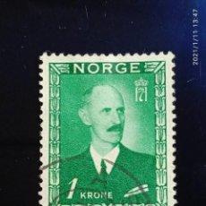 Sellos: NORUEGA, 1 KR. REY HAAKON VII. AÑO 1920. Lote 236620155
