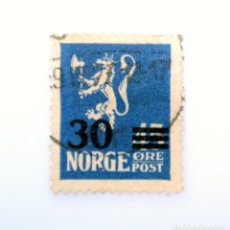 Sellos: SELLO POSTAL NORUEGA 1927 ,30 ORE, LION SURCHARGE ,LEÓN HERÁLDICO OVERPRINT RECARGO EN NEGRO, USADO. Lote 243216750