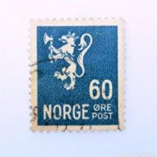 Sellos: SELLO POSTAL NORUEGA 1941 ,60 ORE, LION TYPE II ,LEÓN HERÁLDICO , LEÓN TIPO II, USADO. Lote 243218670