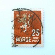 Sellos: SELLO POSTAL NORUEGA 1927 ,25 ORE, LION TYPE II ,LEÓN HERÁLDICO , LEÓN TIPO II, USADO. Lote 243227790