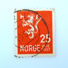 Sellos: SELLO POSTAL NORUEGA 1946 ,25 ORE, LION TYPE II ,LEÓN HERÁLDICO , LEÓN TIPO II, USADO. Lote 243235700