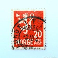 Sellos: SELLO POSTAL NORUEGA 1940 ,20 ORE, LION TYPE II ,LEÓN HERÁLDICO , LEÓN TIPO II, USADO. Lote 243238565