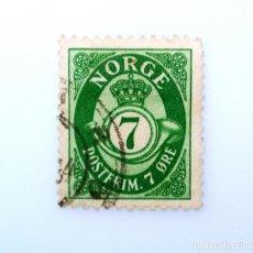 Sellos: SELLO POSTAL NORUEGA 1941 ,7 ORE, NÚMERO 7 EN BOCINA, POSTHORN - NORGE EN CAPITALES ROMANAS, USADO. Lote 243243140