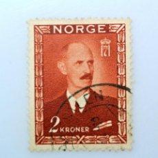 Sellos: SELLO POSTAL NORUEGA 1946 ,2 KR, REY HAAKON VII, USADO. Lote 243282940
