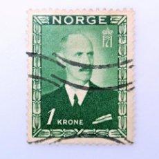 Sellos: SELLO POSTAL NORUEGA 1946 ,1 KR, REY HAAKON VII, USADO. Lote 243417620