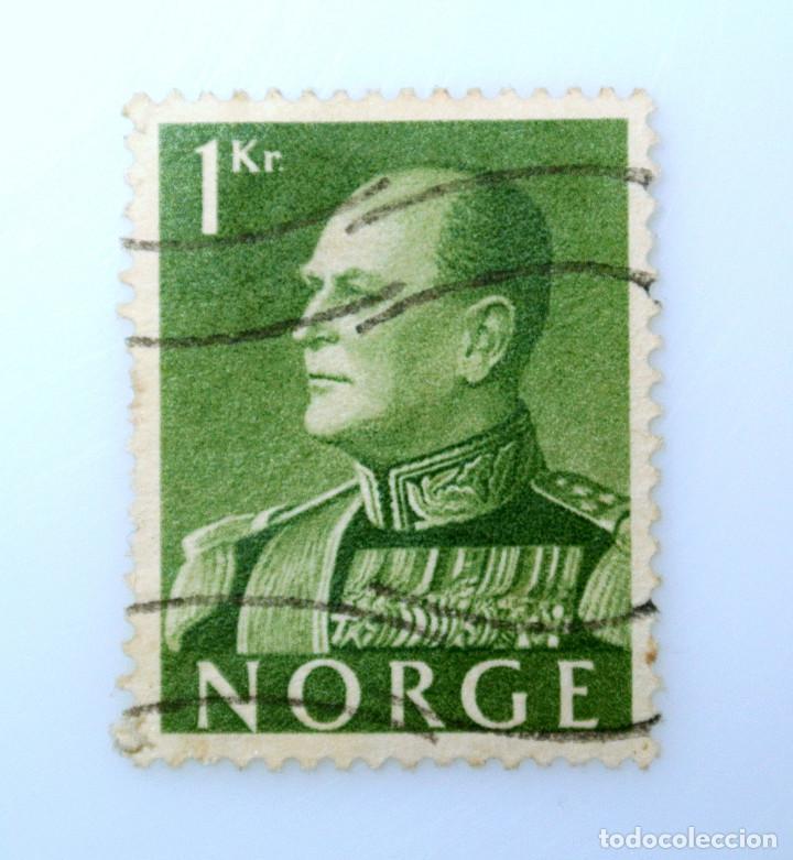 SELLO POSTAL NORUEGA 1959 ,1 KR, REY OLAV V, USADO (Sellos - Extranjero - Europa - Noruega)