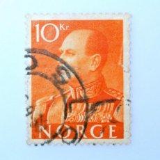Sellos: SELLO POSTAL NORUEGA 1959 ,10 KR, REY OLAV V, USADO. Lote 243420600