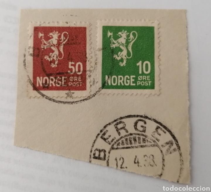 NORUEGA. 2 SELLOS PEGADOS A RESTO DE CARTA. MATASELLO BERGEN, 1938 (Sellos - Extranjero - Europa - Noruega)