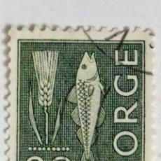 Sellos: SELLO DE NORUEGA 30 O - 1964 - PEZ Y ESPIGA - USADO SIN SEÑAL DE FIJASELLOS. Lote 268595454