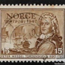 Sellos: SELLO USADO NORUEGA 1947. CENTENARIO CORREO NORUEGO 1647-1947 PETER WESSEL TORDENSKIOLD 1690-1720. Lote 276961203