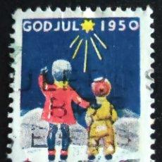 Sellos: SELLO USADO NORUEGA. NORGE GOD JUL 1950. NAVIDAD PRO TUBERCULOSOS. CRUZ DE LORENA. Lote 276975028