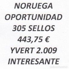 Sellos: INTERESANTE LOTE NORUEGA, COMPUESTO POR 305 SELLOS, CON 443,75 € CATALOGO YVERT 2.009 +. Lote 277267008