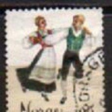 Sellos: NORUEGA IVERT Nº 676, DANZAS FOLKLÓRICAS, SPRINGAR DE HORDALAND, USADO. Lote 296683463