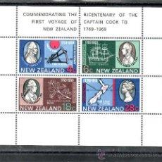 Sellos: NUEVA ZELANDA HB 27 CON CHARNELA, BICENTENARIO PRIMER VIAJE CAPITAN COOK EN NUEVA ZELANDA. Lote 24530069