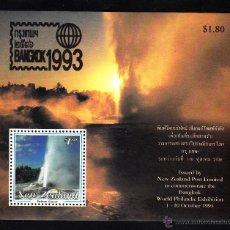 Sellos: NUEVA ZELANDA HB 91** - AÑO 1993 - PAISAJES - GEISER DE POBUTU - EXPOSICIÓN FILATÉLICA BANGKOK 93. Lote 42065517